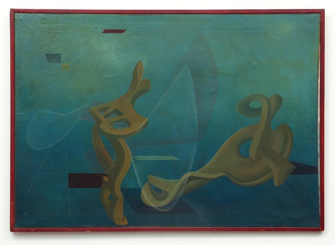 Arthur Rudolf 1953 oil Organic Cubist Forms - 2