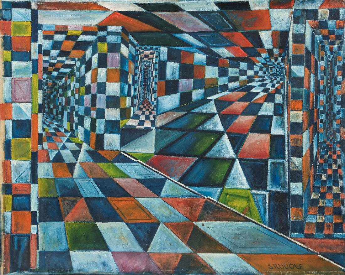 Arthur Rudolf 1950's oil Checkerboard Interior Fantasy