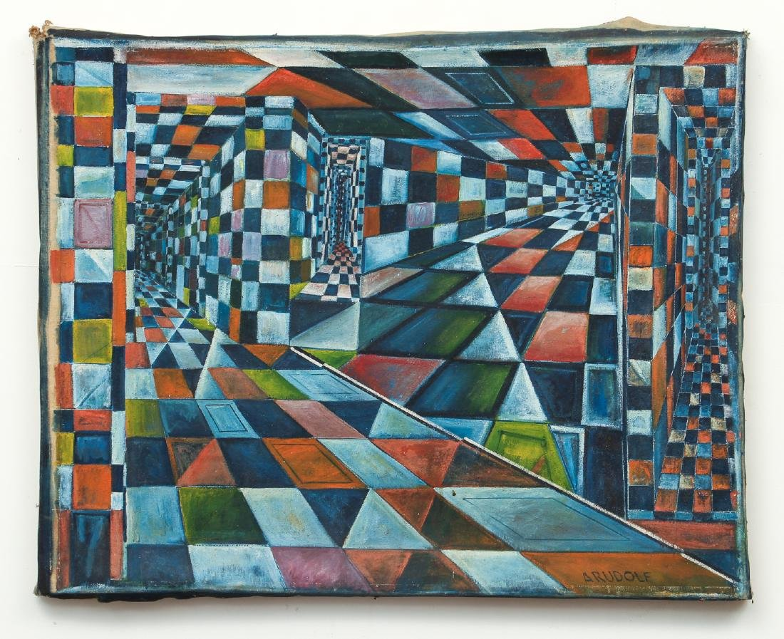 Arthur Rudolf 1950's oil Checkerboard Interior Fantasy - 2