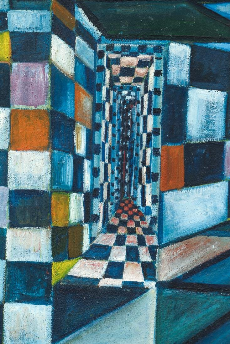 Arthur Rudolf 1950's oil Checkerboard Interior Fantasy - 4