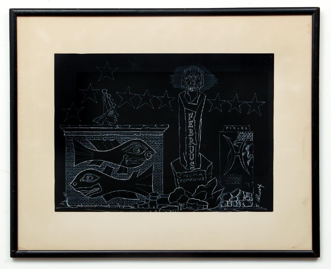 Arthur Rudolf 1950's painting on paper Februus - 2