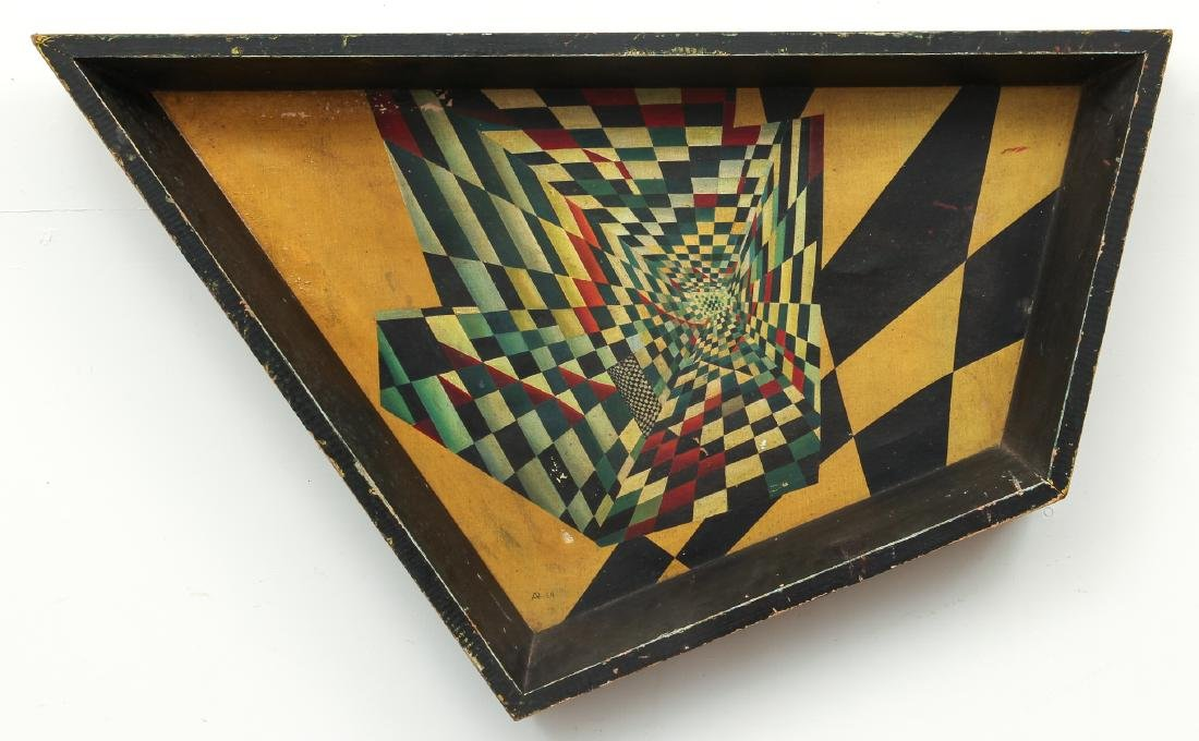 Arthur Rudolf 1952 oil Surrealist Checkerboard Vortex
