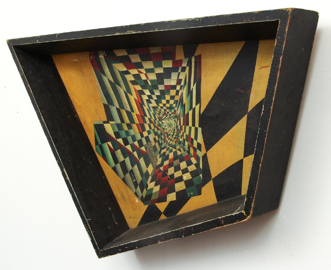 Arthur Rudolf 1952 oil Surrealist Checkerboard Vortex - 2