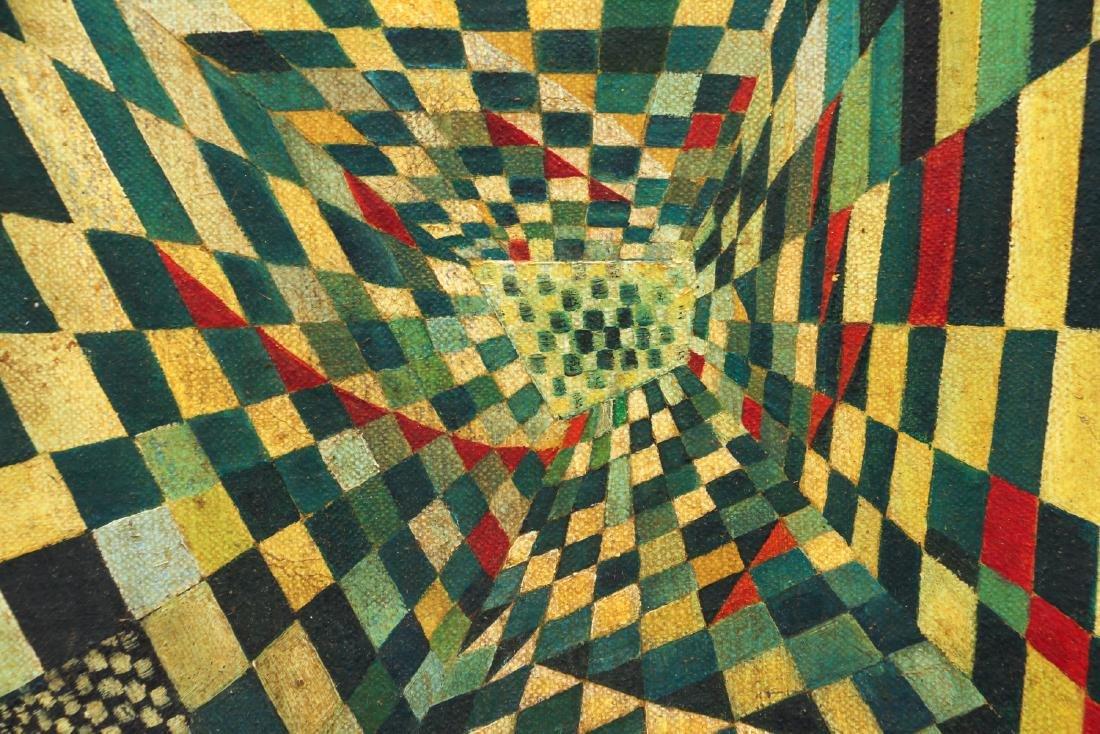 Arthur Rudolf 1952 oil Surrealist Checkerboard Vortex - 4