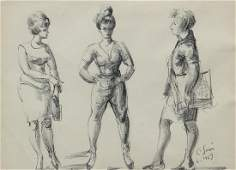 Clyde Singer 1963 ink and crayon Figure Studies