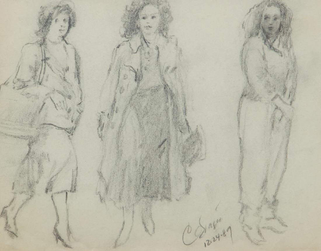 Clyde Singer 1987 drawing Three Studies of Young Woman