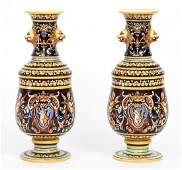 Pair of Gein Victorian Faience Lion Head Vases