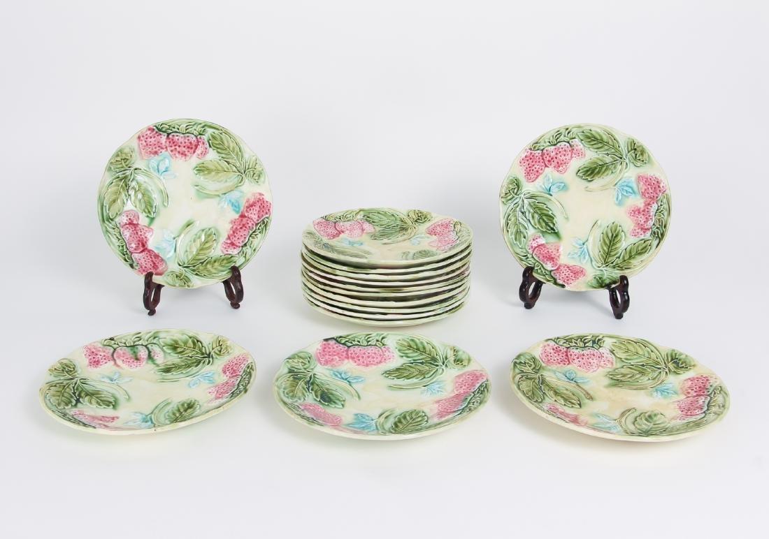 Fifteen Majolica Strawberry Themed Plates