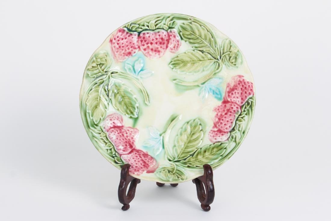 Fifteen Majolica Strawberry Themed Plates - 2