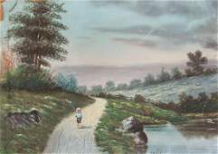 American Pastel Boy Walking on a Country Road