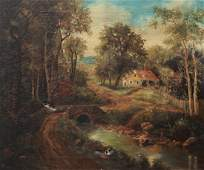 L. Brown ptg. Cottage in the Woods
