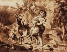 Rococo Drawing of Child Attr Francesco Bartolozzi