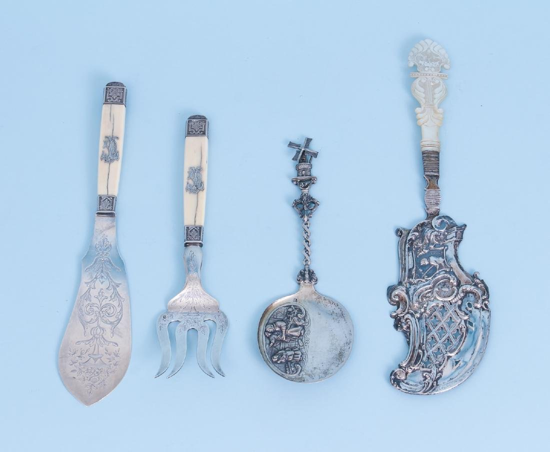 Four European Silver Mounted Serving Pieces