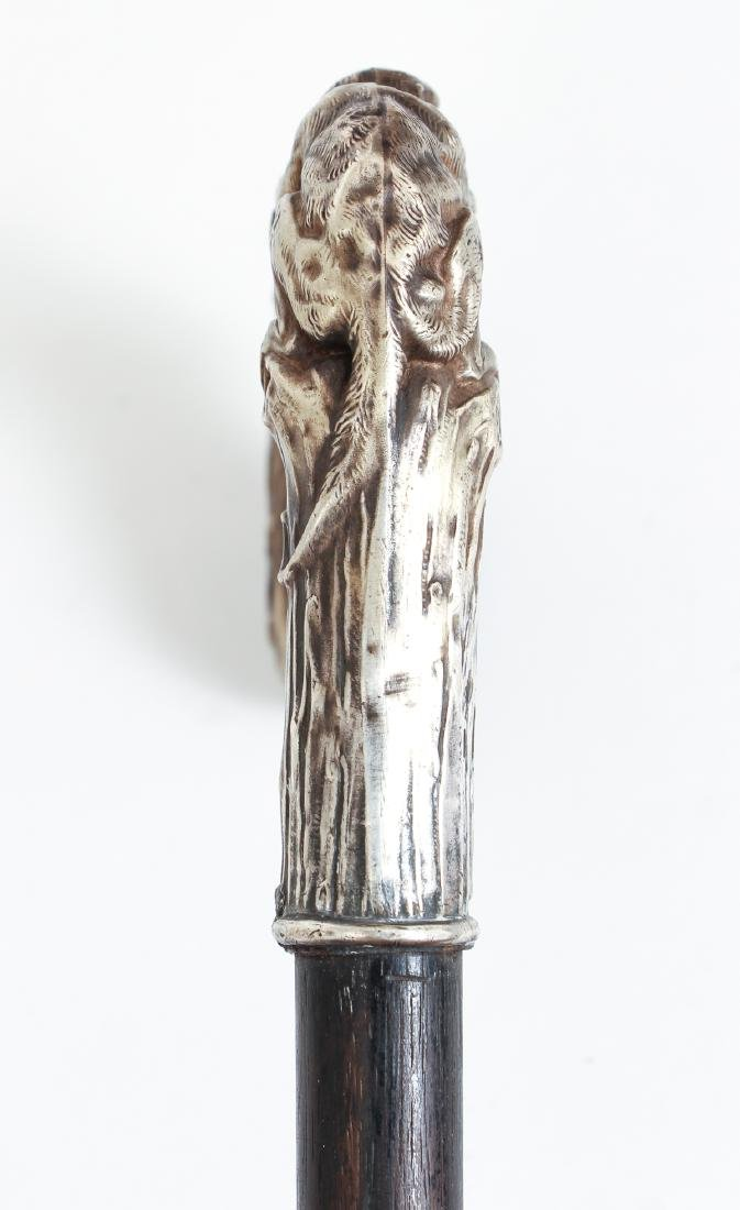Sterling  Handled Monkey Themed Cane - 5