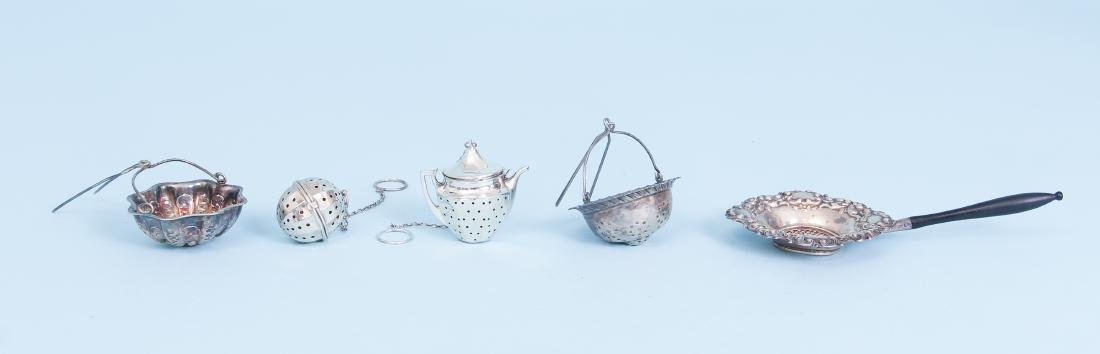 Five Sterling Silver Tea Strainers