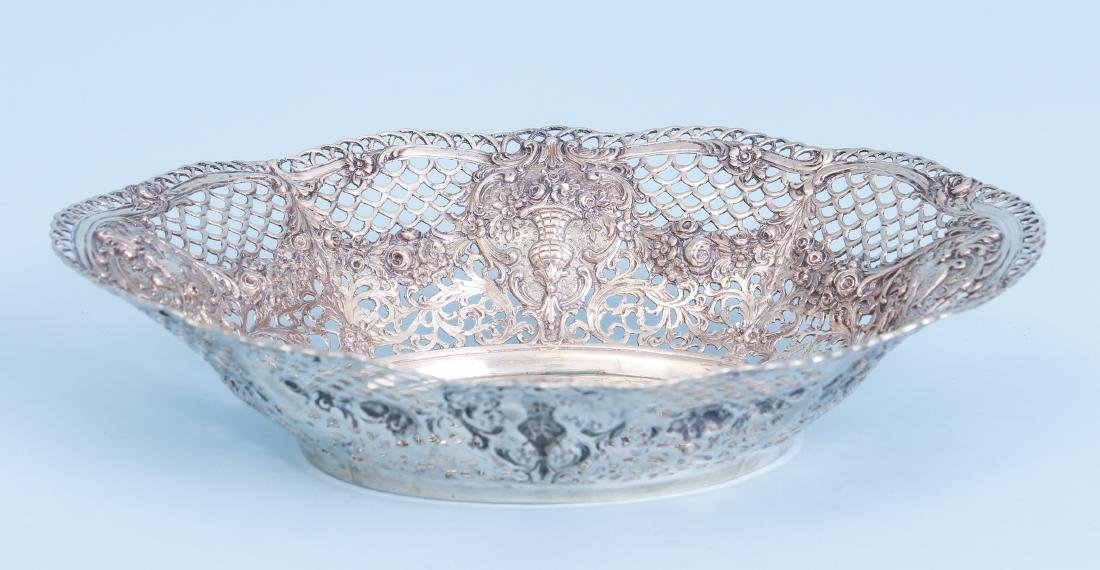 Continental Silver Bowl with Putti and Pierced Border