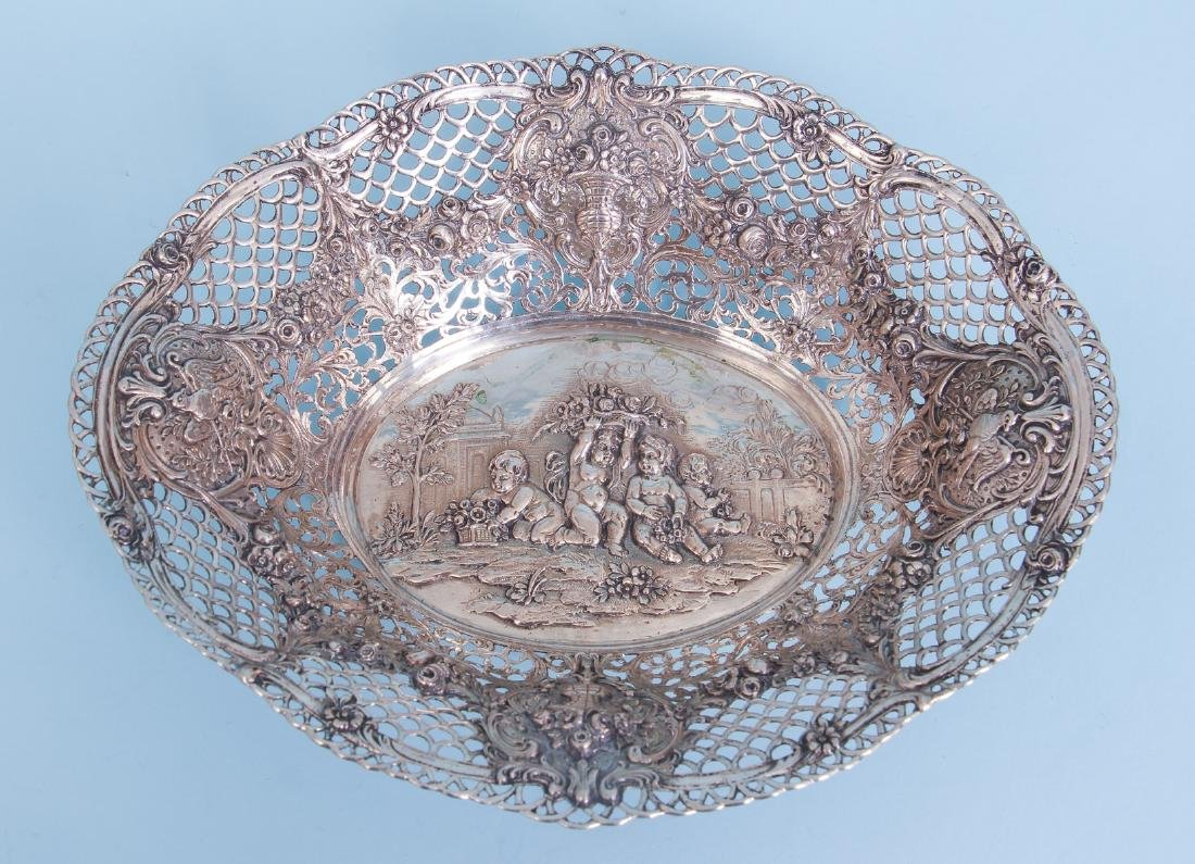 Continental Silver Bowl with Putti and Pierced Border - 2