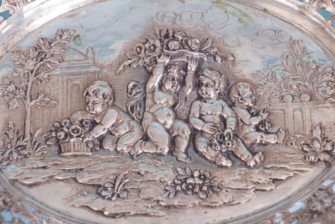 Continental Silver Bowl with Putti and Pierced Border - 3