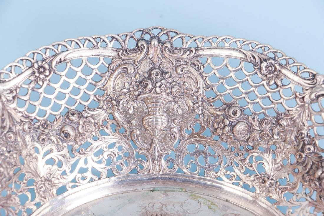 Continental Silver Bowl with Putti and Pierced Border - 4