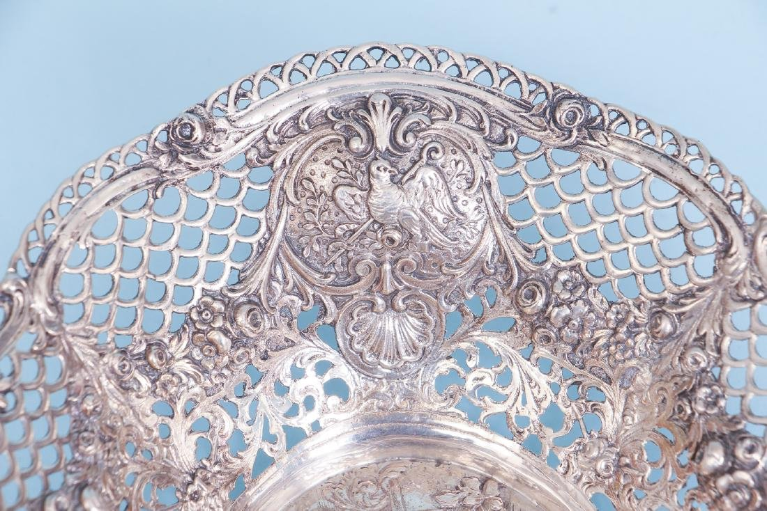 Continental Silver Bowl with Putti and Pierced Border - 5