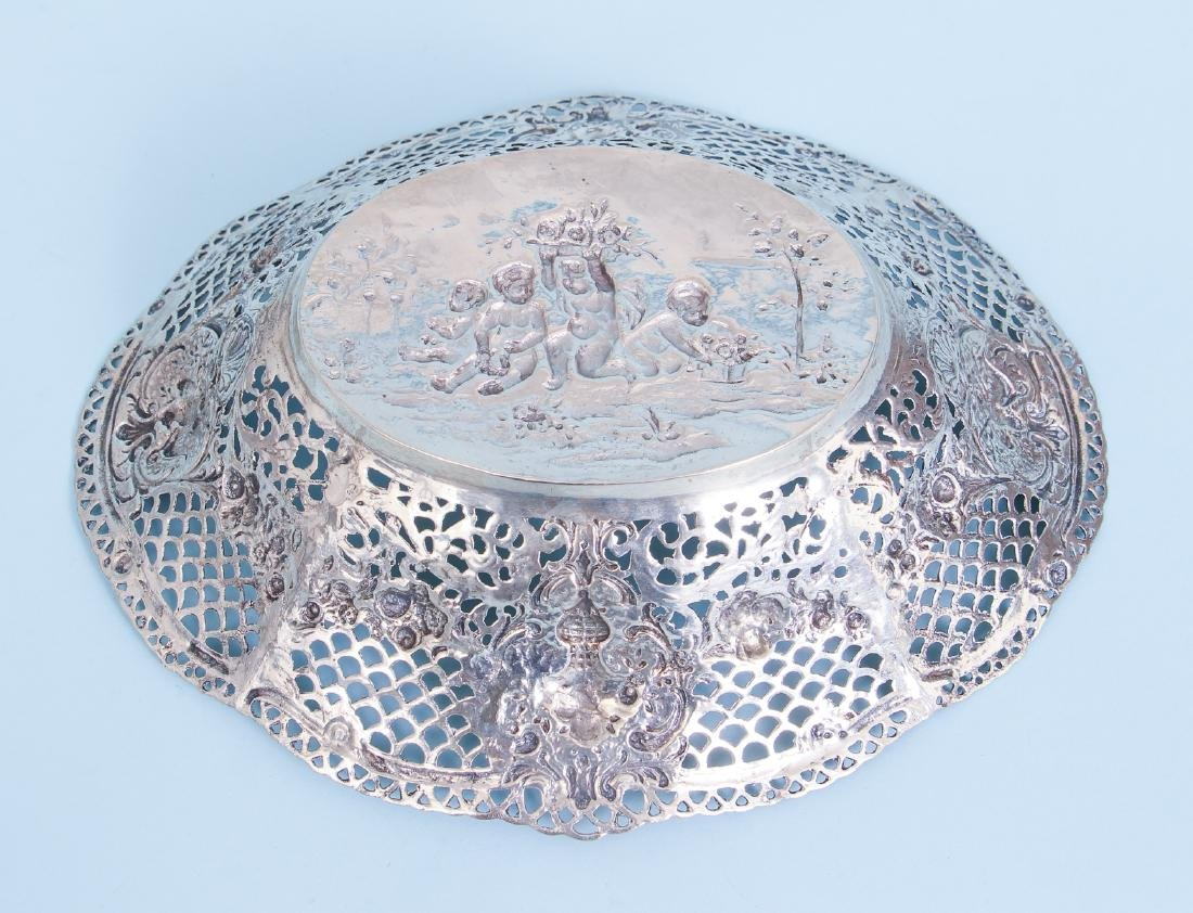Continental Silver Bowl with Putti and Pierced Border - 6