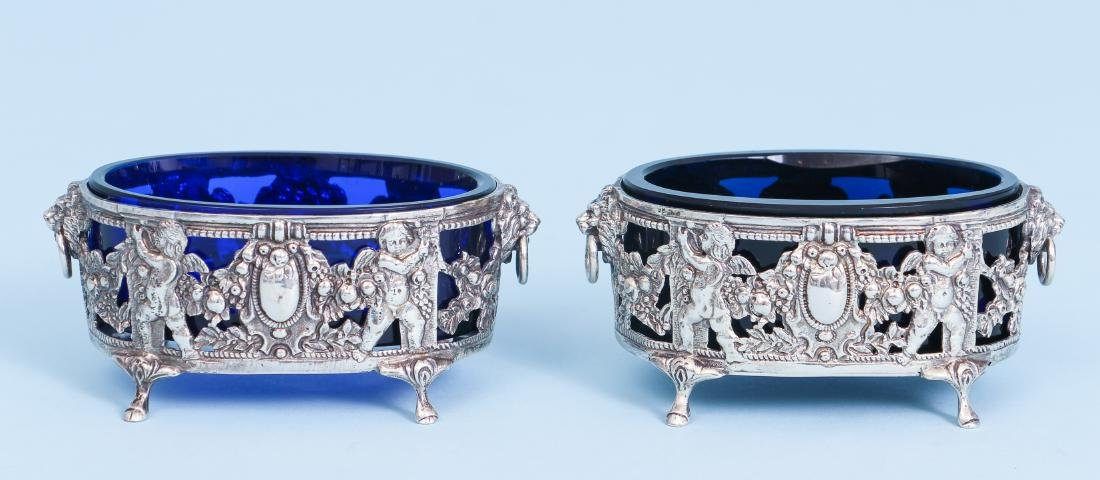 Pair of French Silver and Cobalt Glass Salts