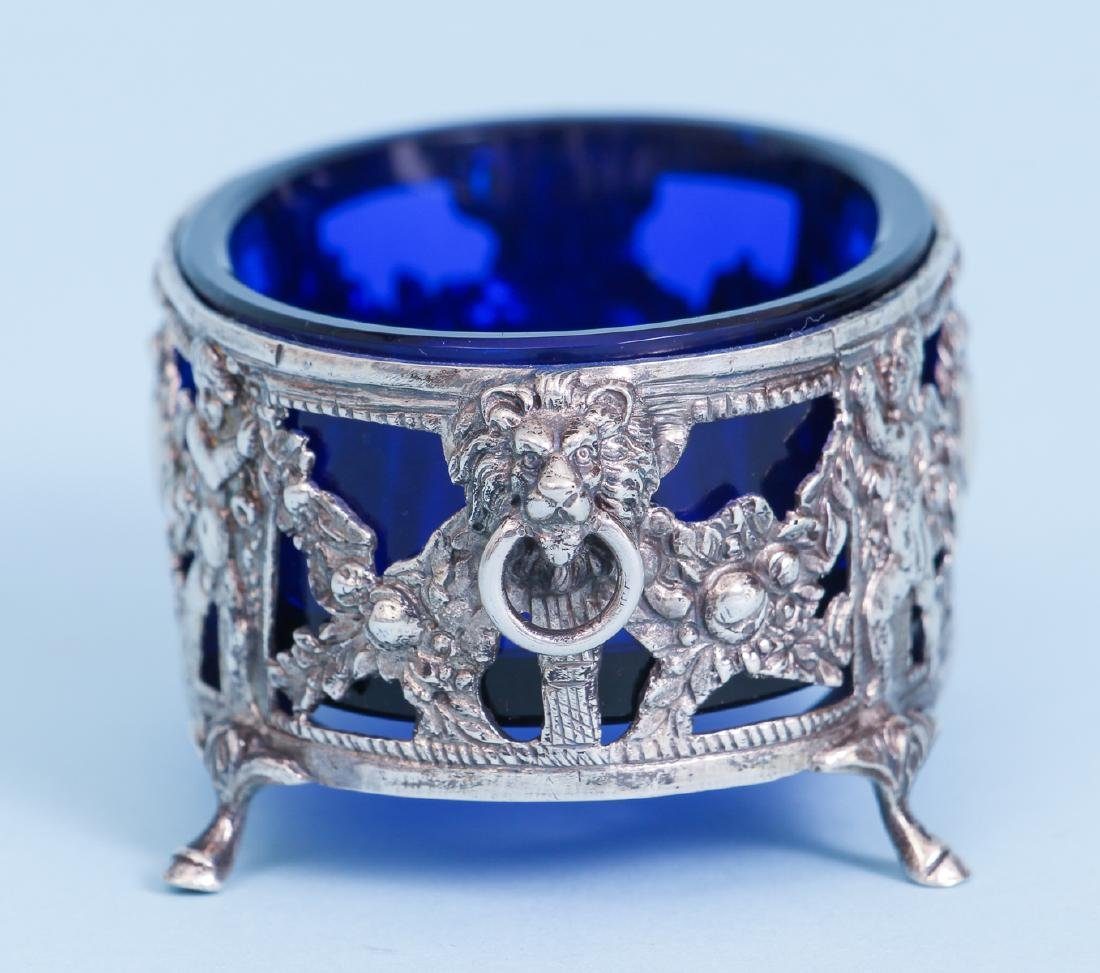 Pair of French Silver and Cobalt Glass Salts - 3