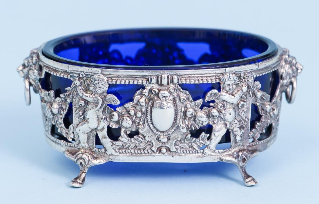 Pair of French Silver and Cobalt Glass Salts - 4