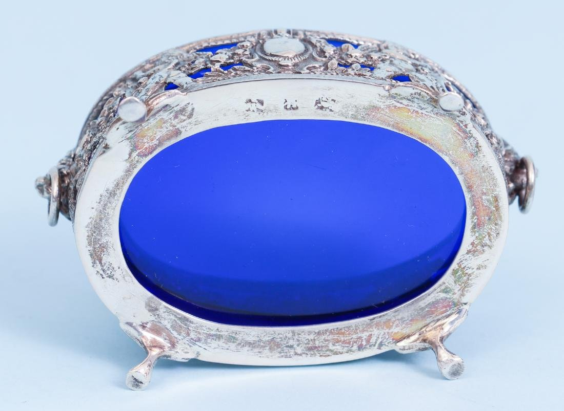 Pair of French Silver and Cobalt Glass Salts - 8