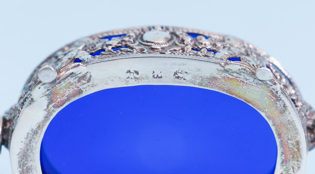 Pair of French Silver and Cobalt Glass Salts - 9