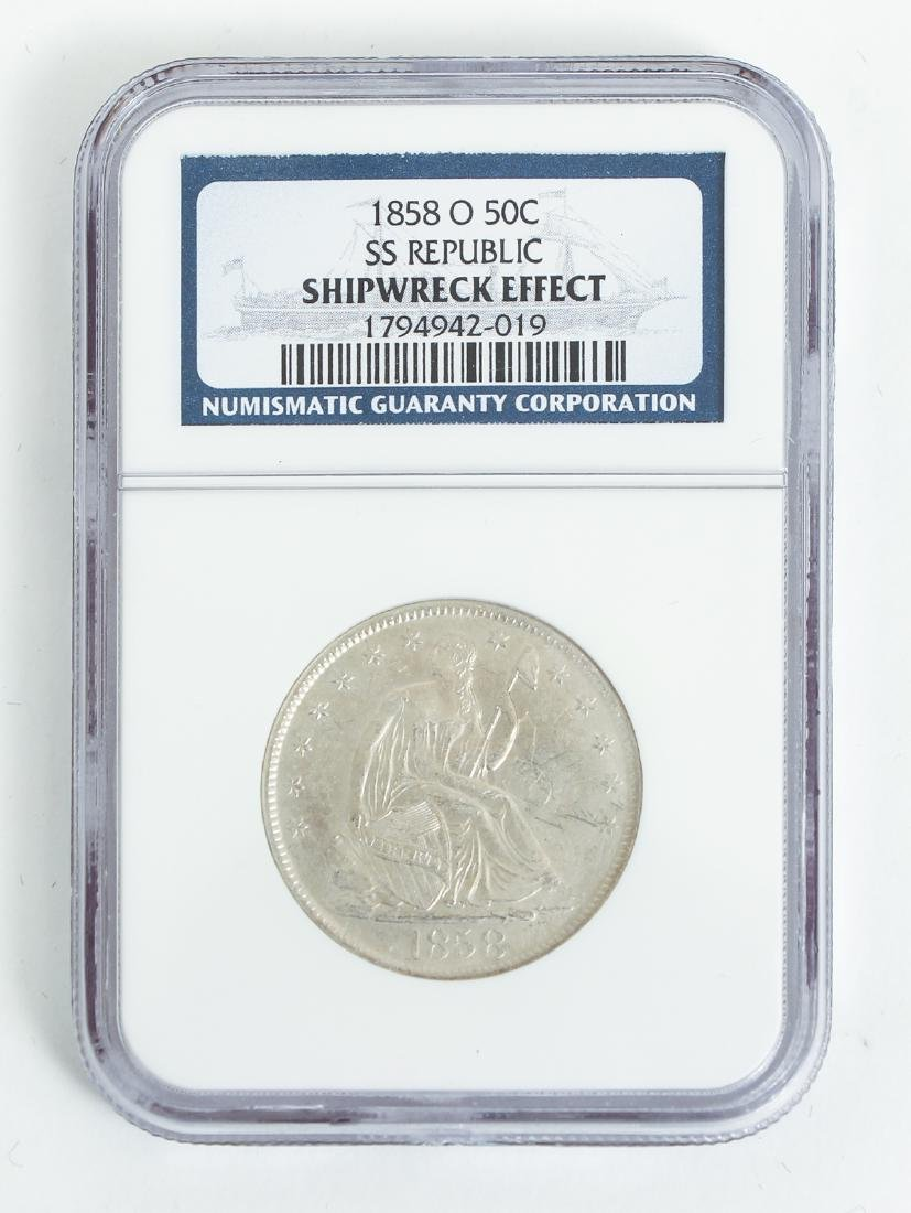 Two 1858 O Seated Liberty Half Dollar Silver Coins SS - 3