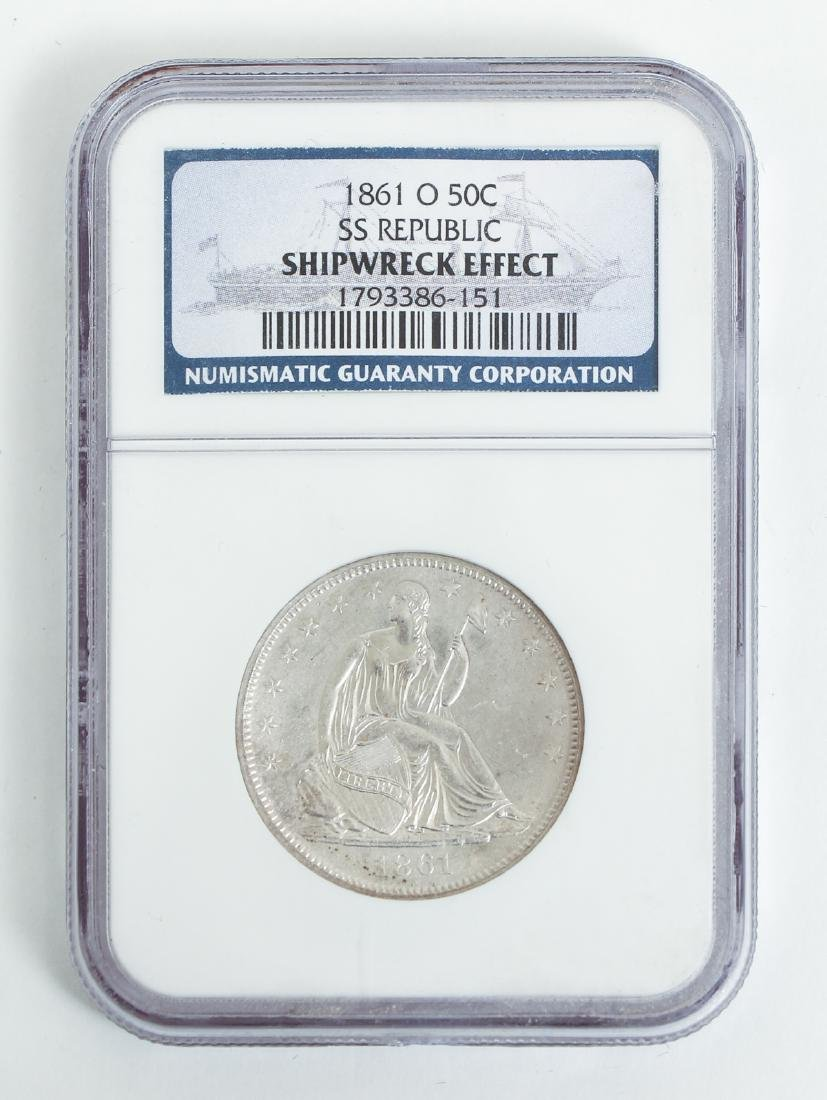 Two 1858 O Seated Liberty Half Dollar Silver Coins SS - 5