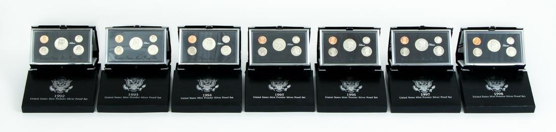 Seven US Mint Silver Proof Sets