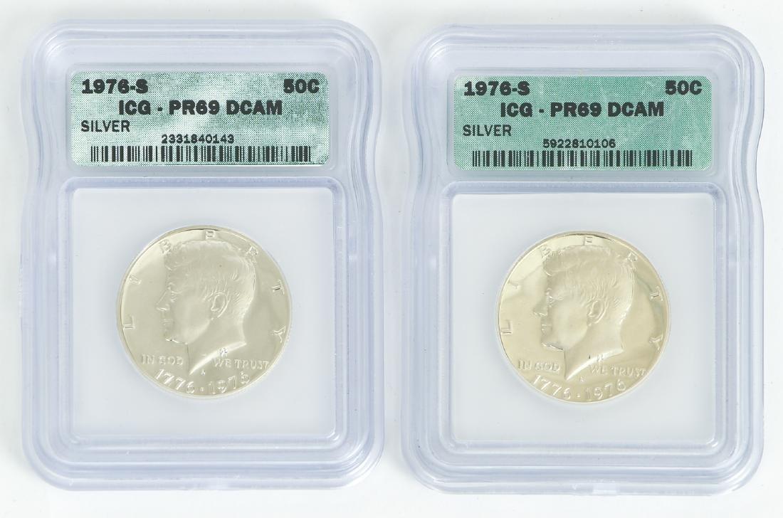 Two 1976 Silver Kennedy Half Dollars