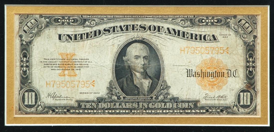 1922 Ten Dollar Gold Certificate