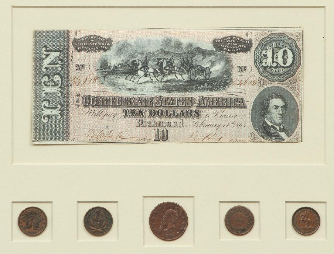 Group of Confederate Coins and Currency