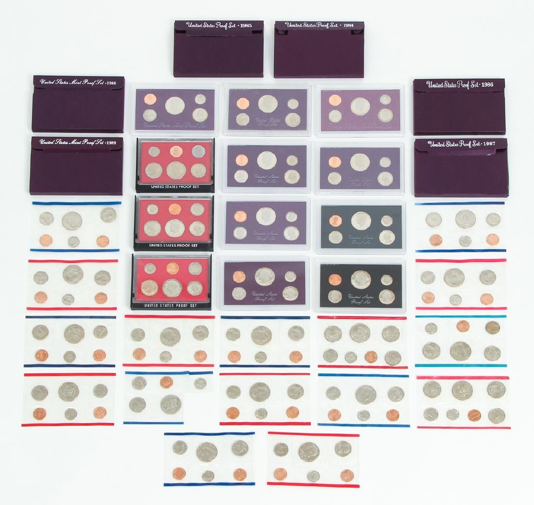 Large Group of 1980s US Mint Proof Sets Etc