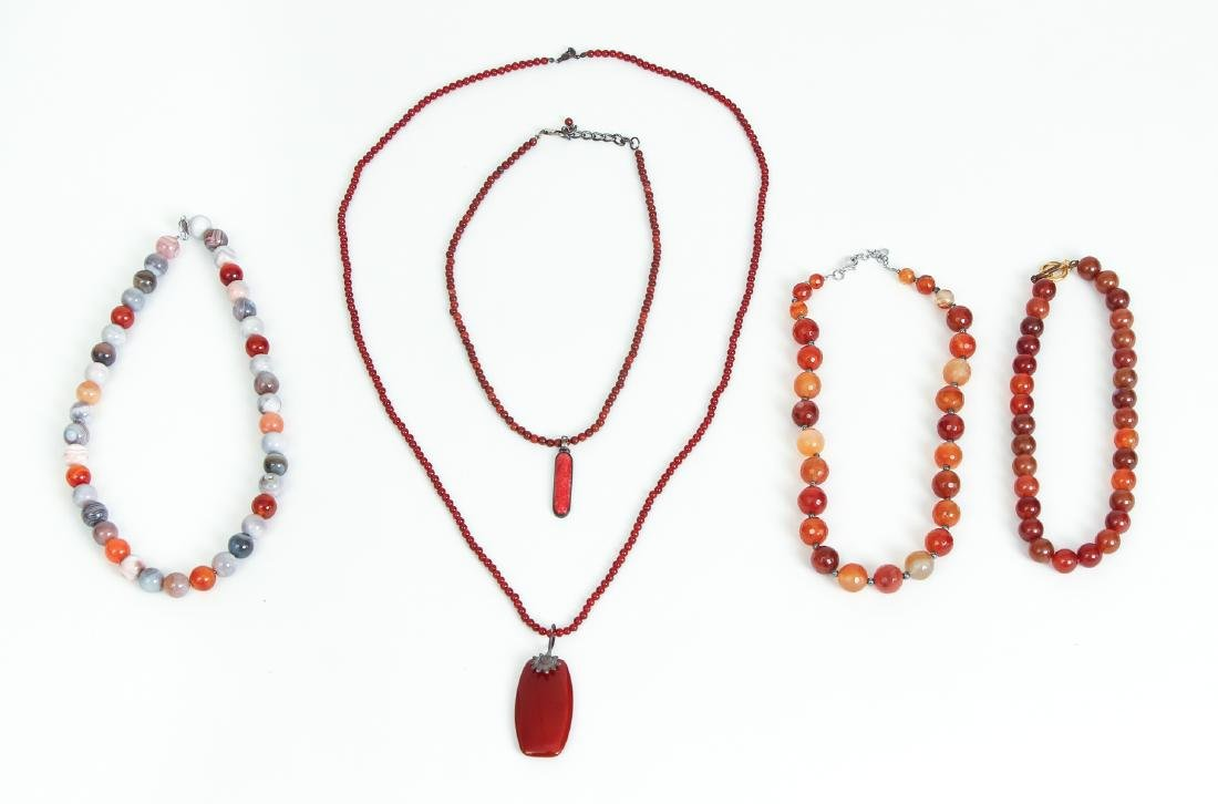 Five Carnelian and Sterling Beaded Necklaces
