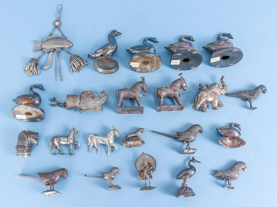 Twenty Two Antique Chinese Silver Animals