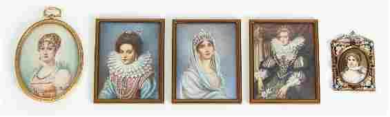 Five Portrait Miniatures of European Royalty inc Queen