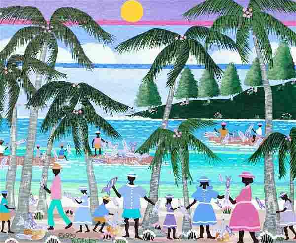 R. Genet Haitian Beach Painting