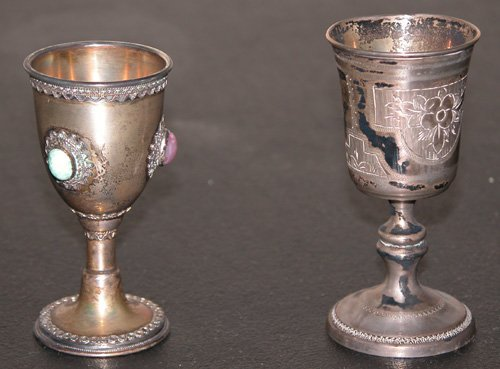 3: Russian silver Kiddush cup with other silver Kiddush