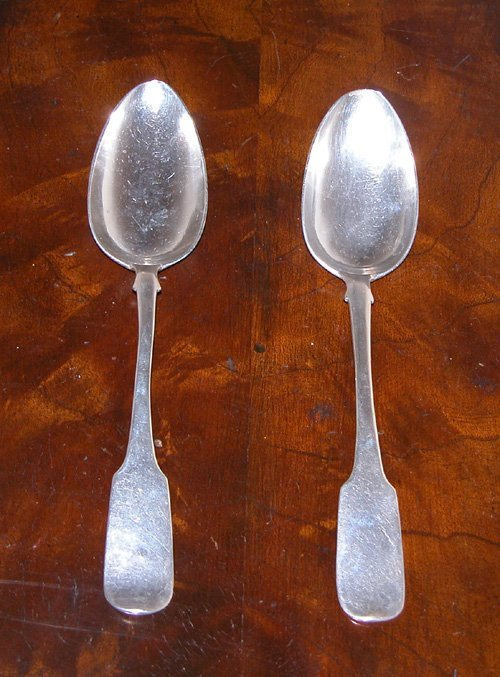 4: Pair of 19th c. Russian silver fiddle back spoons