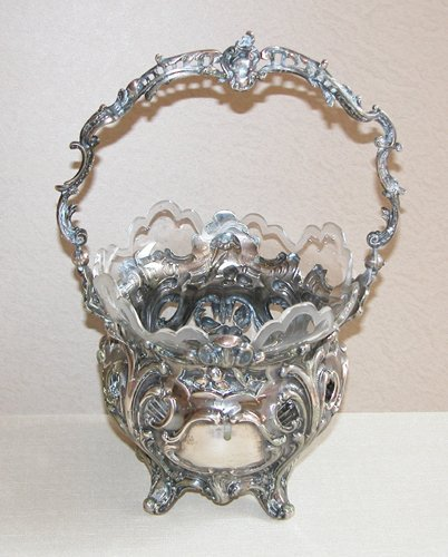 5: French repousse silver basket w/glass liner