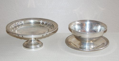 13: Sterling Compote and Bowl w/saucer