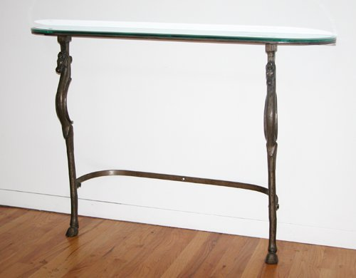 502: Metal Demilune table with plate glass top