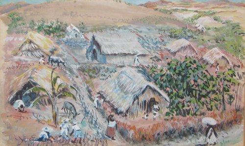 518: Howard Baer Native Huts w/c