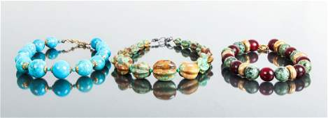 Three Mineral Bead Necklaces