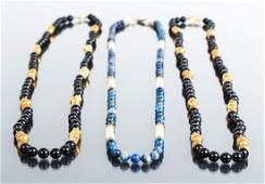 Three Mineral and Gold Bead Necklaces