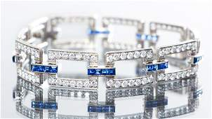 McTeigue and Co Art Deco Diamond Sapphire Bracelet